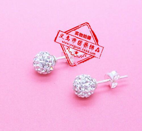 6mm shamballa clay earrings香巴拉